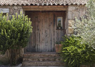 Porte entrée chêne récup & briques sciées